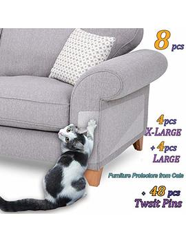 "8 Pcs Furniture Protectors From Cats, Cat Scratch Deterrent, Couch Protector 4 Pack X Large (17""L 12""W) + 4 Pack Large (18""L 9""W) Cat Repellent For Furniture, Stop Pets From Scratching Furniture Couch by Caileni"