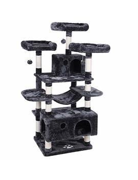Bewishome Large Cat Tree Condo With Sisal Scratching Posts Perches Houses Hammock, Cat Tower Furniture Kitty Activity Center Kitten Play House Mmj03 by Bewishome