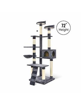 "Lazy Buddy 72"" Cat Tree Multi Level With Sisal Covered Posts, 2 Platforms, Condo, Basket And Ladder Activity Center Tower For Kittens, Large Cats And Pets by Lazy Buddy"