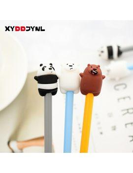 2 Pcs Cute Pen Kawaii Cartoon Panda And Polar Bear Black Ink Gel Pen 0.38mm Korean Stationery Canetas School Office Supplies by Xyddjynl
