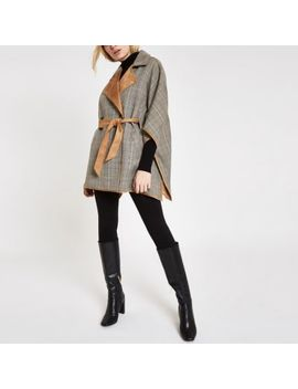 Brown Check Robe Cape Jacket by River Island