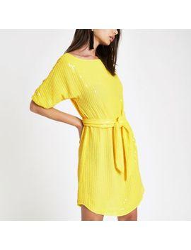 Yellow Sequin Tie Waist Tunic Dress by River Island