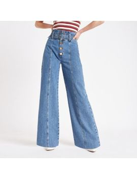 Mid Blue Belted Wide Leg Denim Jeans by River Island