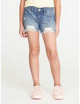 Distressed Lace Trim Denim Cut Offs For Girls by Old Navy