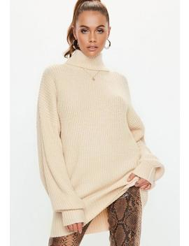 Sand Premium Roll Neck Boyfriend Sweater by Missguided