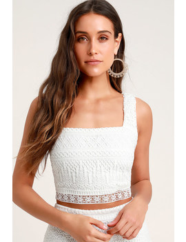 Romance Forever White Crochet Lace Crop Top by Lulus