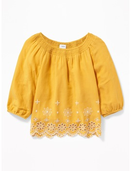 Smocked Neck Eyelet Hem Swing Blouse For Girls by Old Navy