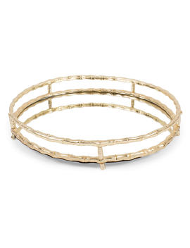 """19"""" Bamboo Style Round Tray, Mirror/Gold by One Kings Lane"""