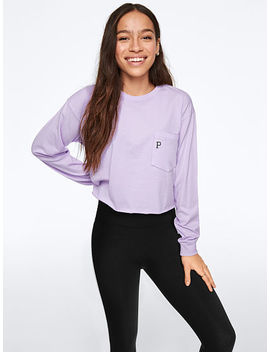 New! Long Sleeve Shrunken Campus Tee by Victoria's Secret