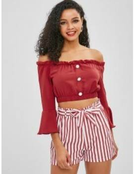 Zaful Off Shoulder Buttoned Stripes Shorts Set   Red M by Zaful