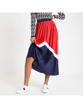 Red Pleated Chevron Midi Skirt by River Island