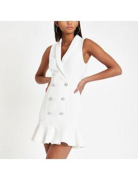 White Rhinestone Embellished Bodycon Tux Dress by River Island