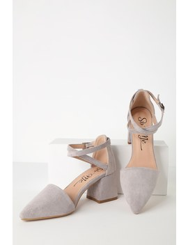 Freesia Grey Suede Ankle Strap Heels by Lulu's