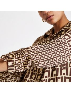 Brown Ri Monogram Ruched Sleeve Blouse by River Island