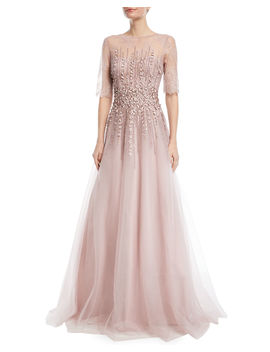 Beaded Lace & Tulle Gown by Neiman Marcus