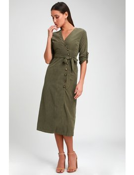 Pull Me Close Olive Green Suede Button Up Midi Dress by Lulus