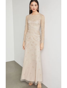 Two Tone Metallic Embroidered Gown by Bcbgmaxazria