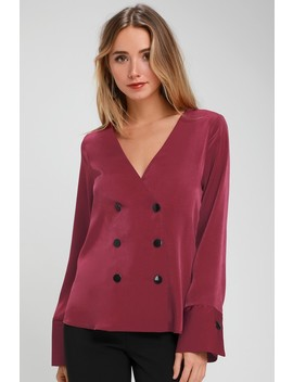 Luminary Wine Red Satin Button Front Long Sleeve Top by Lulus