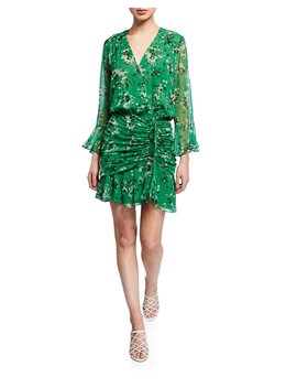 Sean Floral Print Ruched Flounce Dress by Veronica Beard