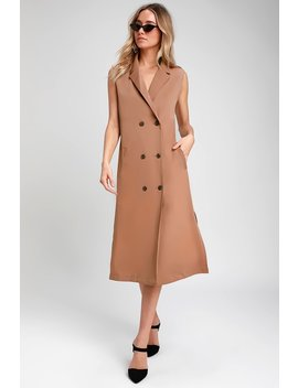 Expert Style Nude Double Breasted Longline Blazer Vest by Lulu's