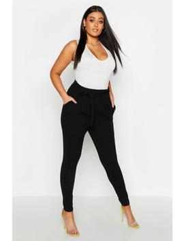 Plus Pleat Front Tie Waist Trouser by Boohoo