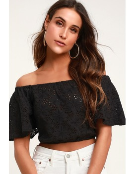 Sunshine Black Eyelet Off The Shoulder Crop Top by Lulus