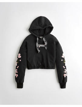 Embroidered Crop Hoodie by Hollister