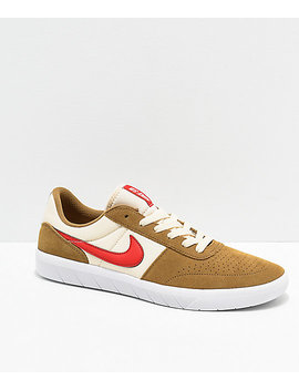 Nike Sb Team Classic Golden Beige & Red Skate Shoes by Nike Sb