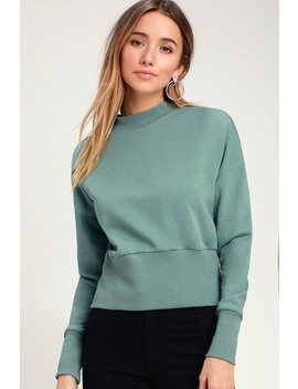 Millie Sage Green Mock Neck Sweatshirt by Lulus