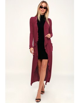 Kate Burgundy Hooded Midi Cardigan by Lucy Love
