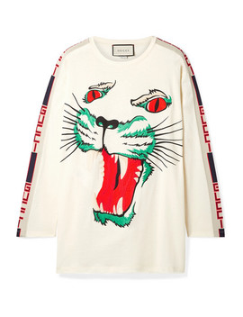 Intarsia Trimmed Embroidered Cotton Jersey Top by Gucci