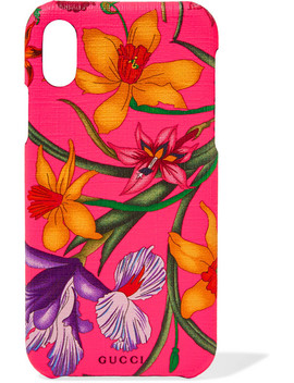 Floral Print Textured I Phone 10 Case by Gucci