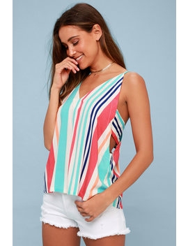 Adrift Multi Striped Tank Top by Lulus