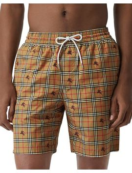 Guildes Equestrian Knight Check Print Swim Shorts by Burberry