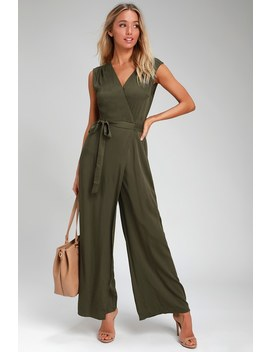 Right To Dream Olive Green Wide Leg Wrap Jumpsuit by Lulu's