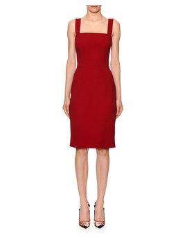Sleeveless Square Neck Cady Sheath Dress by Dolce & Gabbana