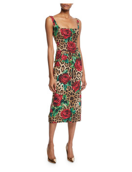 Sleeveless Square Neck Rose & Leopard Print Dress by Dolce & Gabbana