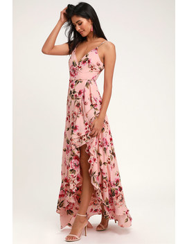Bodacious Bella Blush Pink Floral Print Maxi Dress by Lulus