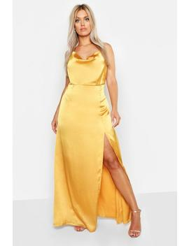 Plus Satin Cowl Neck Split Detail Maxi Dress by Boohoo