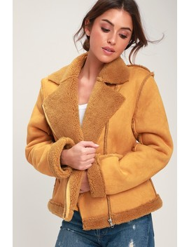Lovers Dance Mustard Yellow Faux Suede Aviator Jacket by Somedays Lovin'