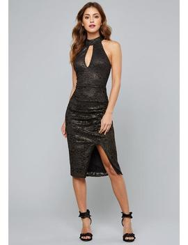 Metallic Lace Keyhole Dress by Bebe