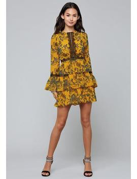 Print Tiered Skirt Dress by Bebe