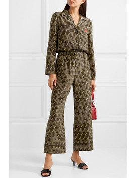 Cropped Printed Silk Satin Wide Leg Pants by Fendi