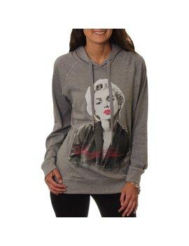 Juniors' Pull Over Raglan Hoodie With Arm Sleeve Graphics by Marilyn Monroe