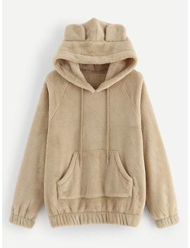 Drawstring Solid Teddy Hooded Sweatshirt by Sheinside