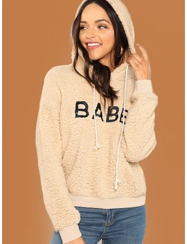 Letter Front Drawstring Teddy Hoodie by Shein