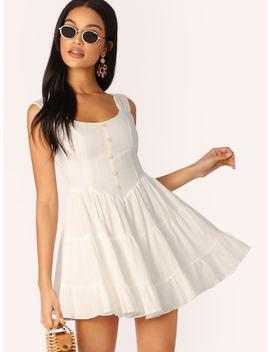 Button Detail Sleeveless Shirred Skirt Dress by Sheinside