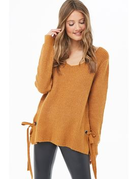 Vented Marled Knit Sweater by Forever 21