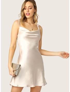 Cowl Neck Tie Straps Bias Cut A Line Mini Dress by Sheinside