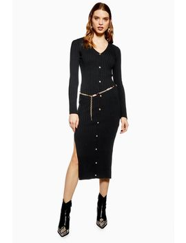 Button Knitted Dress by Topshop